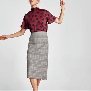 Zara Plaid Midi Pencil Skirt Exposed Zipper NWT S
